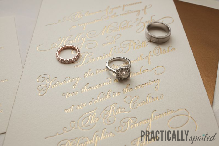 Gold Foil Letterpress Wedding Invitations - practicallyspoiled.com