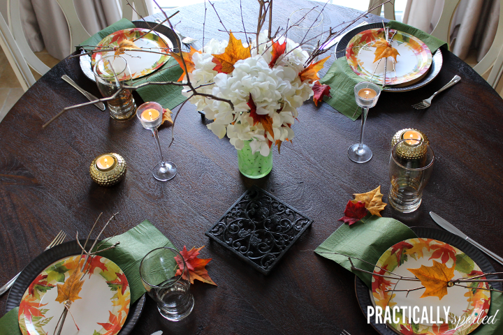High Style, Half Disposable Thanksgiving Table - practicallyspoiled.com