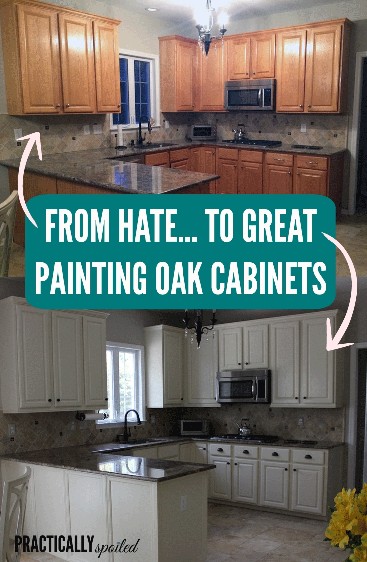 Painting golden oak cabinets - From Hate To Great A Tale Of Painting Oak Cabinets Practicallyspoiled Com