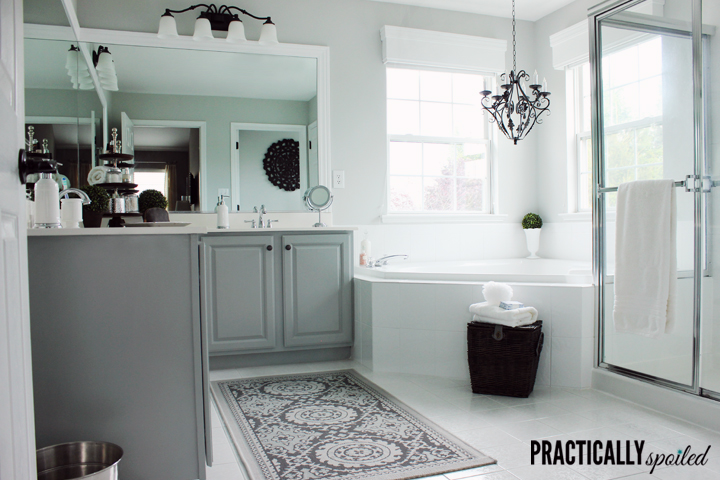 Blah, Basic, Boring to Beautiful Bathroom (on a Budget) - practicallyspoiled.com