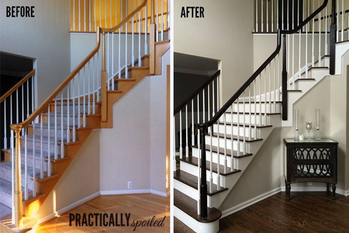 How To Gel Stain Ugly Oak Banisters Without Sanding Practicallyspoiled